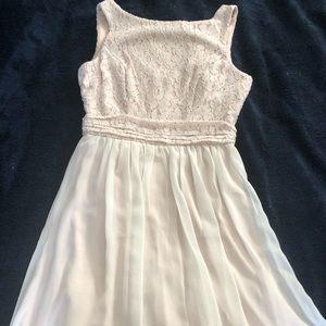 Glitter blush mesh top flowy mini dress